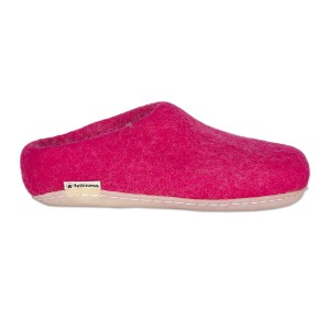 Felt Slippers with rubber sole - Pink