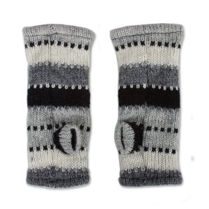 Wool gloves hand-made - black and white