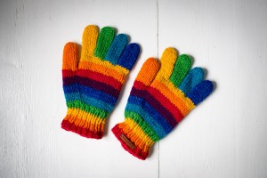 Wool gloves hand-made - Colorful