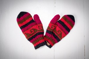 Wool gloves hand-made - Claret
