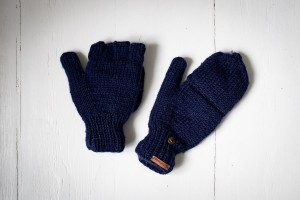 Wool gloves hand-made - Navy blue