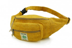 Fanny pack made of hemp in ethno style Yellow