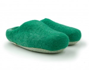 Felt Slippers with rubber sole - Green
