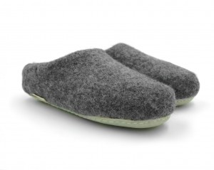 Felt Slippers with rubber sole - Dark Gray