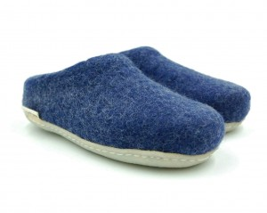 Felt Slippers with rubber sole - Navy blue