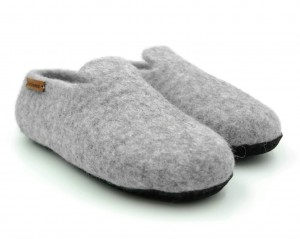 Felt Slippers with sole - Light natural