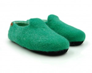 Felt Slippers with sole - Green