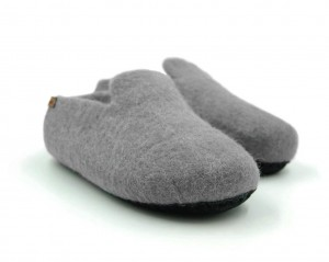 Felt Slippers with sole - Grey