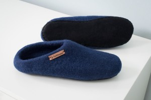 Felt Slippers with sole - Navy blue