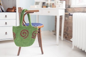 Bag, Handbag made of wool by hand - Green